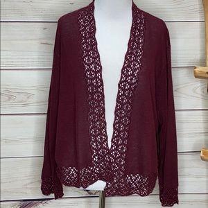 Norton McNaughton Maroon Cranberry Lace Sweater XL